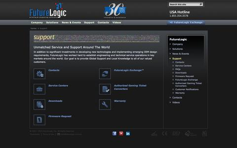 Screenshot of Support Page futurelogic-inc.com - FutureLogic, Inc. - Support - captured Sept. 30, 2014