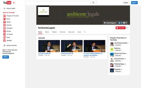 Screenshot of YouTube Page youtube.com - AmbienteLegale  - YouTube - captured Oct. 23, 2014
