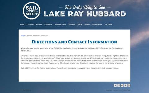 Screenshot of Contact Page sailwithscott.com - Directions and Contact Information - captured Dec. 20, 2015