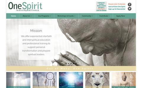 Screenshot of Home Page onespiritinterfaith.org - Spiritual Development, Interfaith Seminary, Interspiritual Counseling - New York, globally over webinars | One Spirit Learning Alliance - captured July 5, 2017