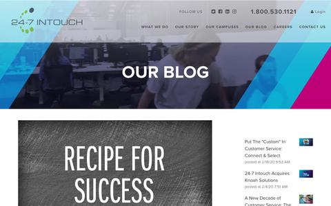 Screenshot of Blog 24-7intouch.com - Contact Center Recipe for Success - captured Feb. 20, 2020