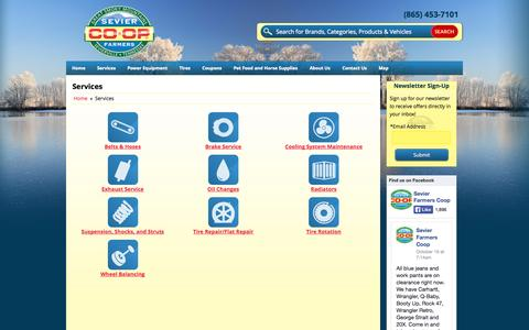 Screenshot of Services Page sevierfarmerscoop.com - Services Sevier Farmers Co-Op Sevierville, TN (865) 453-7101 - captured Nov. 5, 2014
