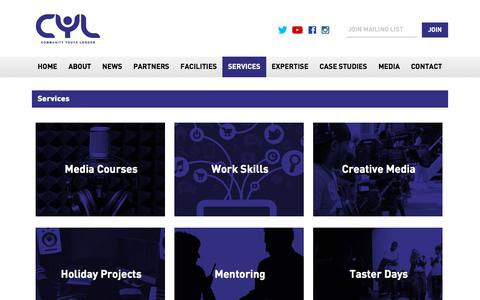 Screenshot of Services Page cyltd.org - Services - Community Youth London            Community Youth London - captured Sept. 26, 2018