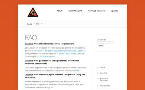 Screenshot of FAQ Page stopconstructionfalls.com - FAQ | Stop Construction Falls - captured May 25, 2016