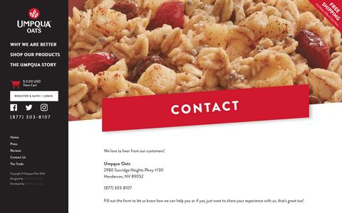 Screenshot of Contact Page umpquaoats.com - Contact                              – Umpqua Oats - captured May 28, 2017