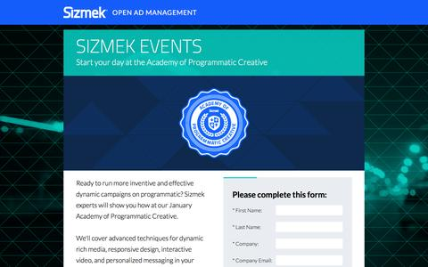 Screenshot of Landing Page sizmek.com - Sizmek Academy of Programmatic Creative - captured Feb. 25, 2017