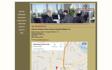 Screenshot of Contact Page Maps & Directions Page brawwlaw.com captured Oct. 23, 2014