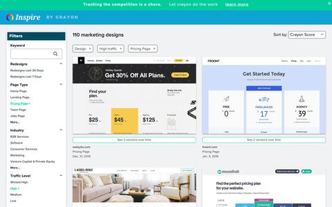 Screenshot of Pricing Page crayon.co - High traffic Design Pricing Pages | Website Inspiration and Examples | Crayon - captured April 25, 2019