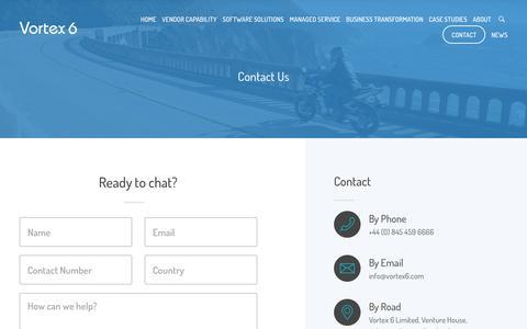 Screenshot of Contact Page vortex6.com - Contact Vortex 6 For Vendor Partner Program Compliance - captured Oct. 20, 2018