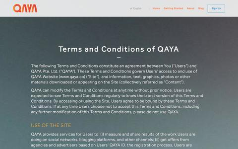 Screenshot of Terms Page qaya.co - QAYA - captured Oct. 2, 2014