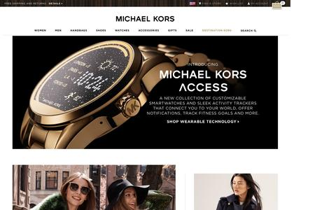 Screenshot of Home Page michaelkors.com - Michael Kors: Designer handbags, clothing, watches, shoes, and more - captured Sept. 27, 2016