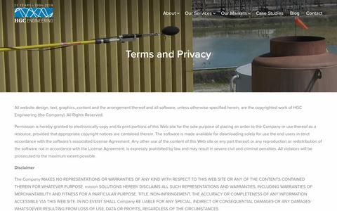 Screenshot of Terms Page acoustical-consultants.com - Terms and Privacy - HGC Engineering - captured March 23, 2019