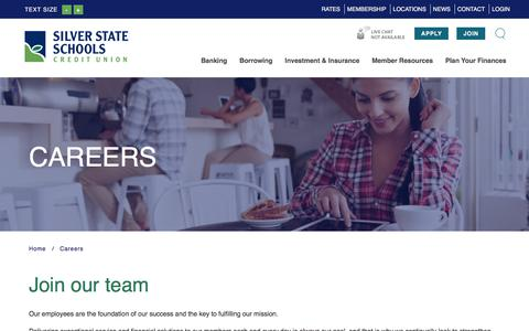 Screenshot of Jobs Page silverstatecu.com - Silver State Schools Credit Union : Careers | Silver State Schools Credit Union - captured Feb. 1, 2018