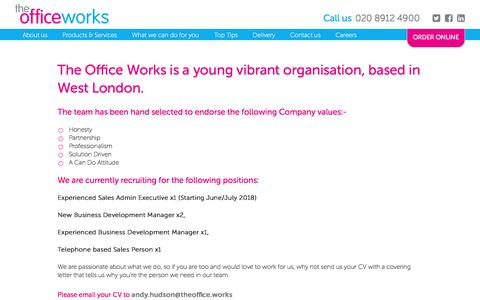 Screenshot of Jobs Page theofficeworks.co.uk - Careers - The Office Works - captured Sept. 21, 2018