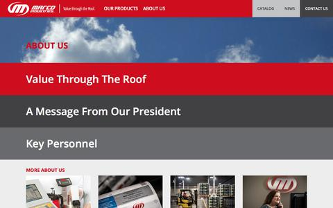Screenshot of About Page marcoindustries.com - Marco Industries - About Us - captured Oct. 5, 2017