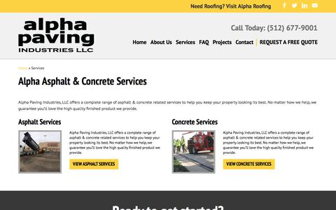 Screenshot of Services Page alphapavingtexas.com - Services | Alpha Paving Industries - captured Oct. 8, 2017
