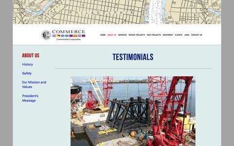 Screenshot of Testimonials Page commerceconstruction.com - Testimonials — Commerce Construction - captured Nov. 2, 2014