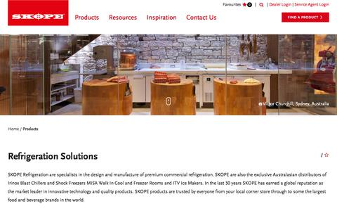 Screenshot of Products Page skope.com - Commercial Refrigeration Product Range - SKOPE - captured Feb. 15, 2018