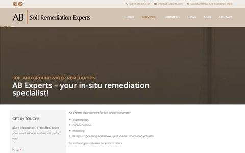 Screenshot of Services Page ab-experts.com - Soil and groundwater remediation – AB Experts - captured Oct. 2, 2018