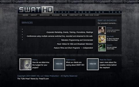 Screenshot of Services Page swathd.com - SWAT HD, LLC Video Production   » Services - captured Sept. 30, 2014