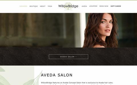 Screenshot of Services Page willowbridgecenter.com - AVEDA Salon | WillowBridge Center | Isanti, MN - captured Dec. 10, 2018