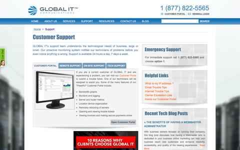 Screenshot of Support Page globalit.com - GLOBAL IT techncial support - captured July 10, 2016