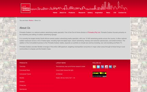 Screenshot of About Page primeoutdoor.co.za - Primedia Outdoor - Outdoor Advertising Media Specialists - captured Oct. 2, 2014