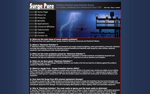 Screenshot of FAQ Page surgepure.ca - Surge Pure Canada - Canadian Surge Protection Services - captured Oct. 7, 2014