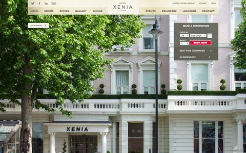 Screenshot of Home Page hotelxenia.co.uk - Hotel Xenia London - Official Website - Central London Hotels - Cromwell Rd - captured Sept. 30, 2014
