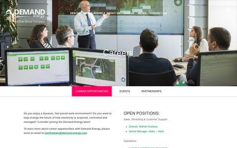 Screenshot of Jobs Page demand-energy.com - Distributed Energy Management Careers | Demand Energy - captured Oct. 12, 2017