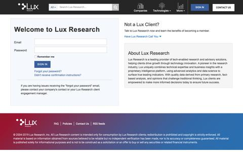 Screenshot of Login Page luxresearchinc.com - Lux Research - captured June 6, 2019