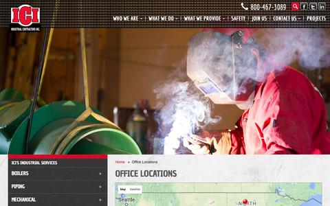 Screenshot of Locations Page icinorthdakota.com - Office Locations | Industrial Contractors, Inc. - captured Feb. 4, 2016