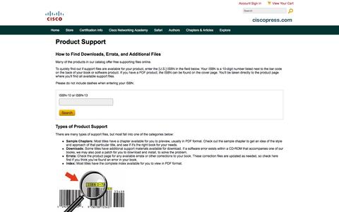 Screenshot of Support Page ciscopress.com - Book Support - captured Dec. 9, 2015