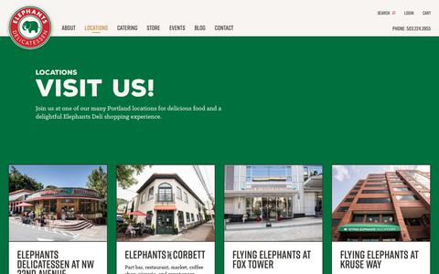 Screenshot of Locations Page elephantsdeli.com - Locations - Elephants Delicatessen - captured Sept. 27, 2018