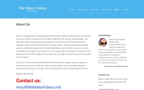 Screenshot of About Page wemakevideos.net - Nashville Video Production Services | About us | Video Production Nashville | Corporate Video Production | WeMakeVideos - captured Oct. 7, 2014