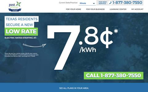Screenshot of justenergy.com - Electricity Rates in Texas   Call 877-642-6852   Just Energy - captured March 26, 2017