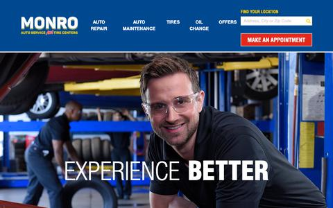 Screenshot of Home Page monro.com - Monro Auto Service And Tire Centers | Save On Tires & Oil Changes - captured Nov. 7, 2018