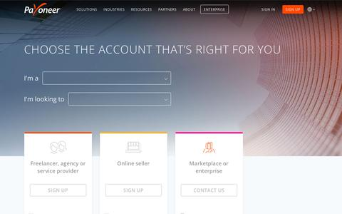 Screenshot of Signup Page payoneer.com - Account Types - Choose The Account That's Right For You | Payoneer - captured June 5, 2019