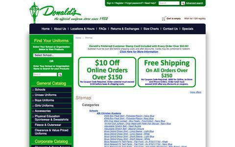 Screenshot of Site Map Page donaldsuniform.com - Donald's Uniform :: Sitemap - captured Nov. 6, 2018