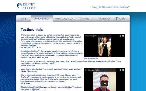 Screenshot of Testimonials Page dentistselect.net - Dentist Select - OraCare™ Oral Cleanser: Testimonials - captured Sept. 17, 2014