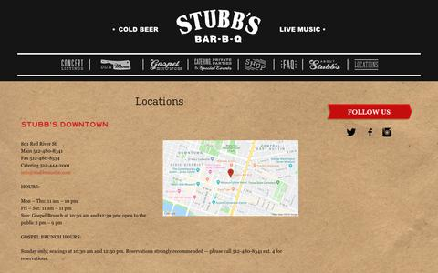 Screenshot of Contact Page Locations Page stubbsaustin.com - Locations - Stubb's BBQ - captured Oct. 10, 2018