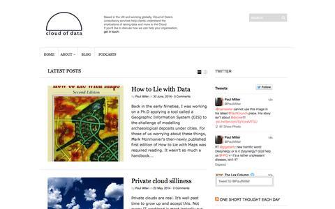 Screenshot of Blog cloudofdata.com - blog | Paul Miller - The Cloud of Data - captured Oct. 7, 2014