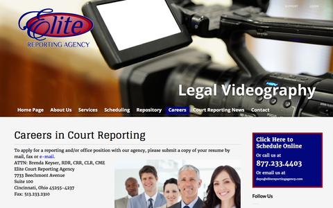 Screenshot of Jobs Page elitereportingagency.com - Careers in Court Reporting - Elite Court Reporting Agency - captured Jan. 27, 2016