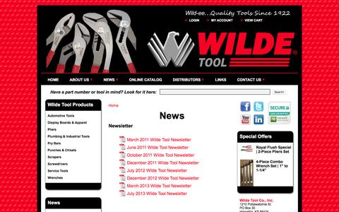 Screenshot of Press Page wildetool.com - Wilde Tool Company - News - Newsletter   Angle Nose Slip Joint Pliers - Combination Slip Joint Pliers - Tongue and Groove Pliers - Pipe Wrench Pliers - Pry Bars - Punches - Chisels - Gasket Scrapers - Wrenches - Screwdrivers - captured Feb. 14, 2016
