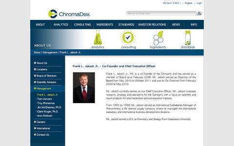 Screenshot of Team Page chromadex.com - Frank L. Jaksch Jr. - ChromaDex - captured Nov. 15, 2016