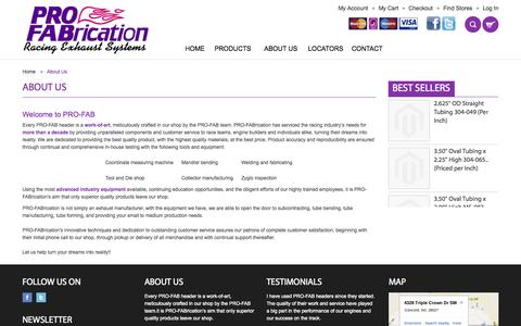 Screenshot of About Page profabrication.com - About Us - captured Oct. 28, 2014