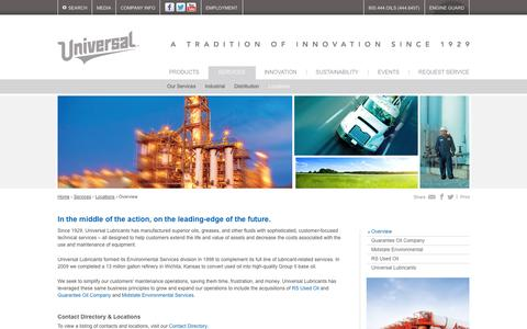 Screenshot of Locations Page universallubes.com - Universal Lubricants [Services - Locations - Overview] - captured Oct. 7, 2014