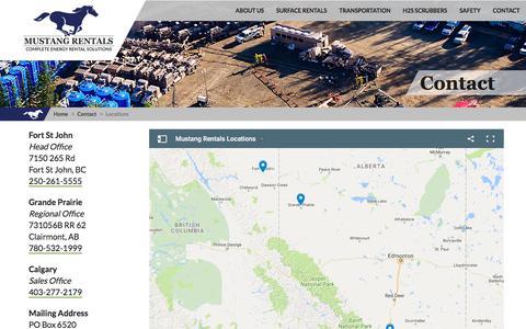 Screenshot of Locations Page mustangrentals.com - Mustang Rentals: Complete Energy Rental Solutions - Mustang Contact: Locations - captured Jan. 27, 2018