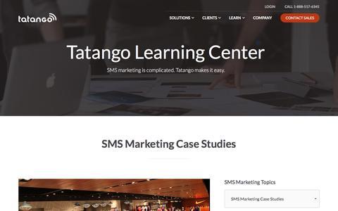 Screenshot of Case Studies Page tatango.com - SMS Marketing Case Studies | Tatango - SMS Marketing Software - captured Aug. 13, 2016