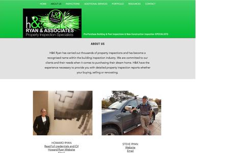 Screenshot of About Page hnkryan.com - H & K Ryan: Building Inspections Sydney, Home Inspections Sydney - captured Oct. 1, 2016